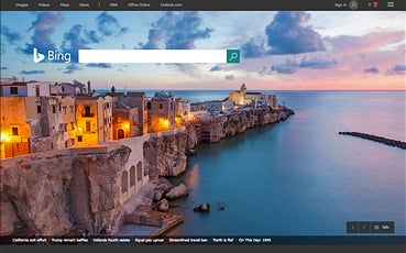 bing home screen